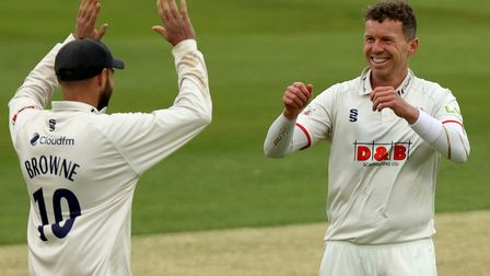 Peter Siddle of Essex celebrates taking the wicket of Danny Briggs during Essex CCC vs Warwickshire