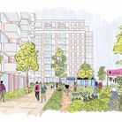 A sketch of the new 'central square' green space now planned for the O2 Centre's redevelopment in Finchley Road