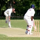 Hitchin's Danny Fair bowls to St Albans' Hanief Mukuddem in 2012