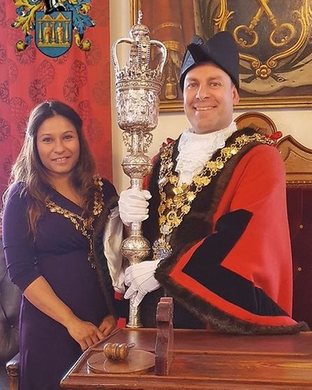 Cllr Andrew Lynn and his wife Reema