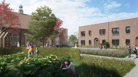 CGI images of the new 61 homes scheme by East Suffolk Council on the former Deben School site in Felixstowe