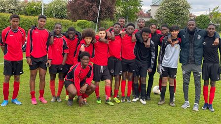 Newham District football team face the camera