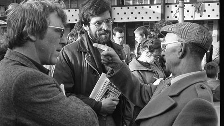 Gerry Adams visits the residents of Hardwicke Street Flats