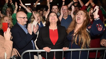 Sinn Fein leader Mary Lou McDonald celebrates with her supporters after being elected in 2020