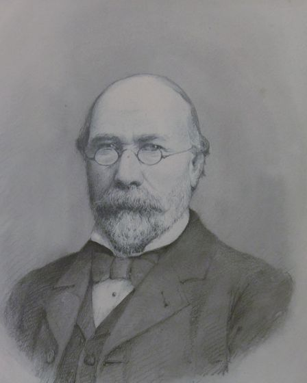 Edward Boardman in pencil and grey wash from 1894 in the Square Box on the Hill exhibition of the hi