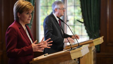 Scottish First Minister Nicola Sturgeon and Welsh First Minister Mark Drakeford during a joint press