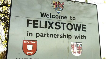 The Welcome to Felixstowe sign on the dock roundabout