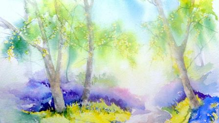 Bluebell Wood watercolour