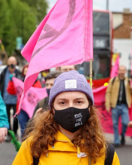 A local campaigner on the march.