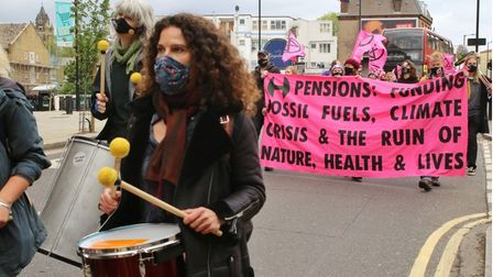 The climate march across Hackneyincluded drummers and a big pink banner.