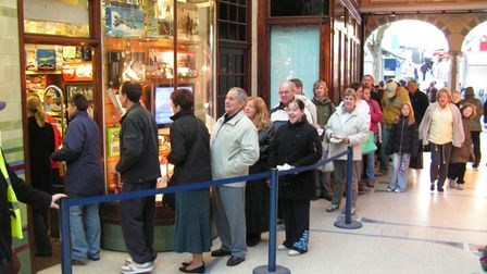Queue at Langleys in Norwich for Rachel Lowe Destination Norwich gamePhoto: Submitted
