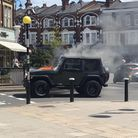 The 4x4 on fire in Muswell Hill