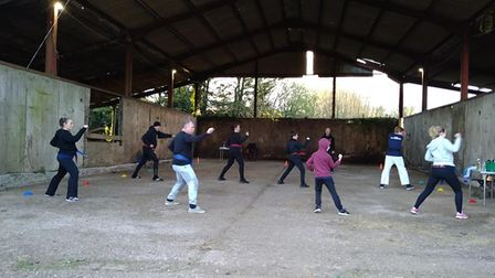 Tae Kwon-Don training wherever they can