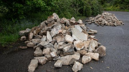 Concrete has been fly tipped on Old Norwich Road in Claydon. Picture: Sarah Lucy Brown