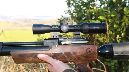 A Hawke 2-7 x 32 scope mounted on a Kral NP02 air rifle