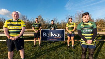 Huntingdon & District Rugby Club show off their newly-sponsored strips