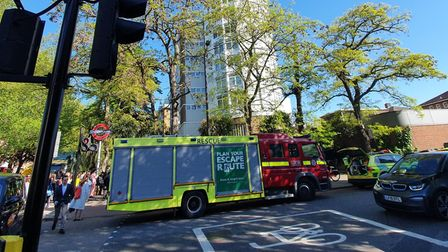 A fire engine and other emergency service vehicles outside of St John's Wood Tube station