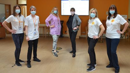 Saint Francis Hospice's therapies team with hospice staff taking part in a virtual walk