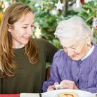 Elderly women with the young carer