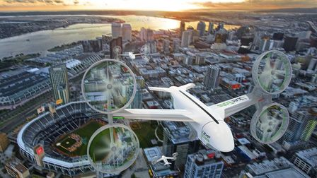 An artists illustration of a futuristic world where Uber Eats are delivered by drone