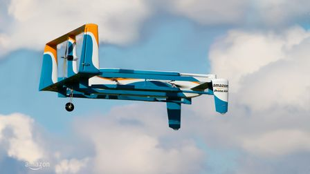 an Amazon drone in the sky