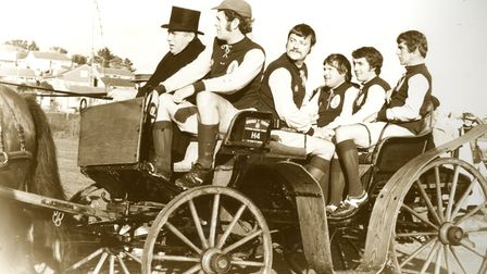 The first team coach arrives at Clennon Valley in a horse-drawn carriage