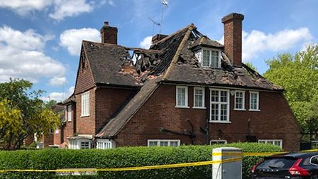 Semi-detached homes in Hampstead Garden Suburb had their roof destroyed by fire on Thursday morning