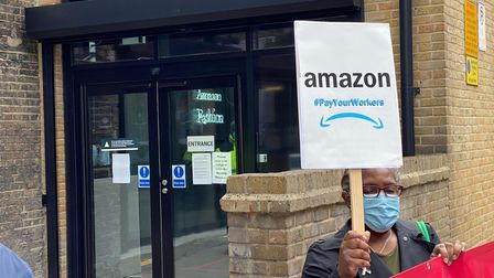 The protest took place on Geffrye Street outside Amazon's Fashion Studio in Shoreditch.