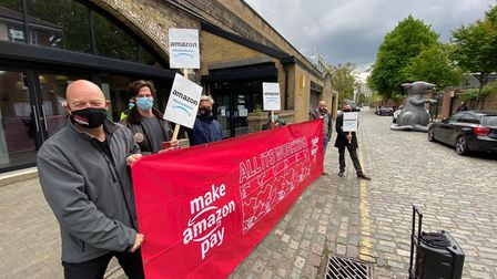 Protesters gathered in Shoreditch in support of Amazon workers' rights across the world.