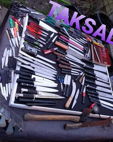 a collection of knives that have been collected by take a knife save a life