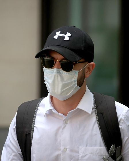 Pc Jamie Lewis arrives at Westminster Magistrates' Court, London, where he is appearing charged with