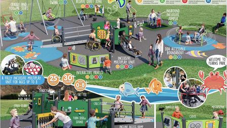 Draft proposals for new play equipment at Fearns Park in Cromer.