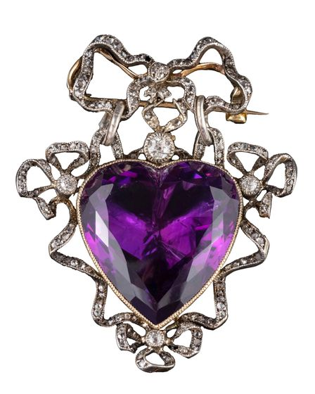 A 19thcentury heart-shaped amethyst and diamond brooch sold by Bearnes Hampton & Littlewood