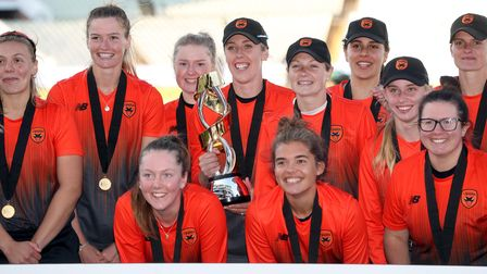 Southern Vipers celebrate after winning the Rachael Heyhoe Flint Trophy Final at Edgbaston in 2020