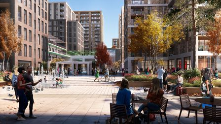 An architect's design on what the civic square would look like at Lorimer Village, Goodmayes.