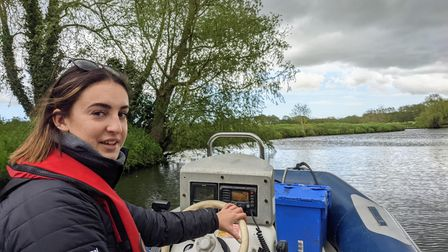 Alice on the Broads Authority launch on the Waveney near Beccles