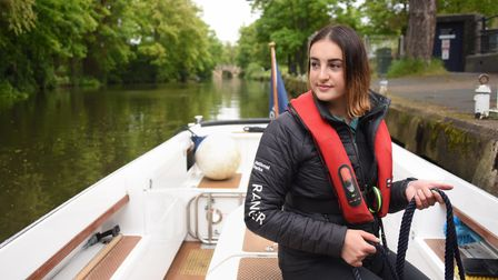 Alice Bushell, 20, Broads Authority assistant ranger, at work on the River Wensum. Picture: DENISE B