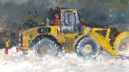 A painting of a digger and working men at clayworks in St Austell