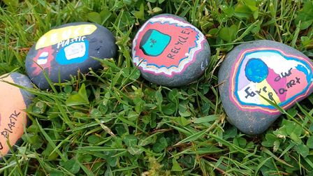 Rothamsted's painted pebbles on sustainability.