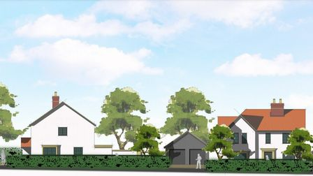 An architects drawing of plots 1 and 2 of the development in Ashwell off Station Road