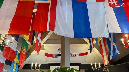 The flags at the Haywain in St Ives