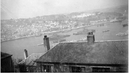 Clandestine photograph of warships at Dartmouth. Wartime photographs like this one are rare