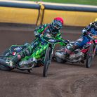 Somerset Rebels Select v Plymouth Gladiators action; Todd Kurtz leads Plymouth's Nathan Stoneman at a meeting in 2019.