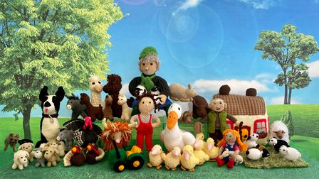 Some of the knitted characters to discover in the Farmyard Town Centre Trail in Hertford.