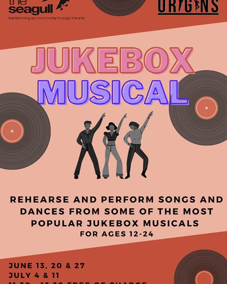 A flyer for Jukebox Musical, a free workshop for people aged between 12 and 24, being held at the Seagull Theatre, Pakefield.