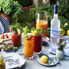A brunch layout bloody mary cocktails made with grey goose
