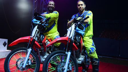 Bikers who ride inside the globe, Braulio Guerrero, left, and Kelvisson Pereria, one of the acts tak
