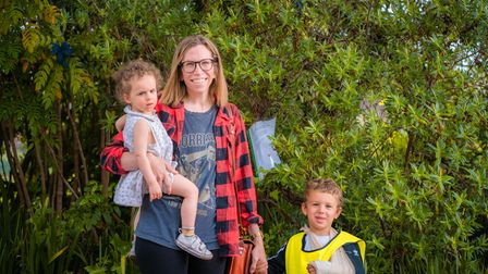 Kate Schwarz and her kids, who are trying to save their local horse chestnut tree