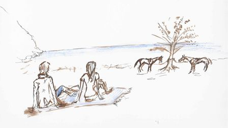 An illustration by Abbie Hart showing people and their horses relaxing in Ashdown Forest