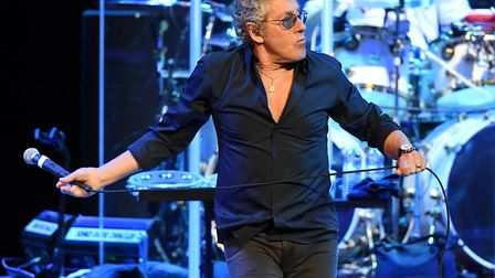 Singer Roger Daltrey of The Who performs on the first night of the band's residency at The Colosseum